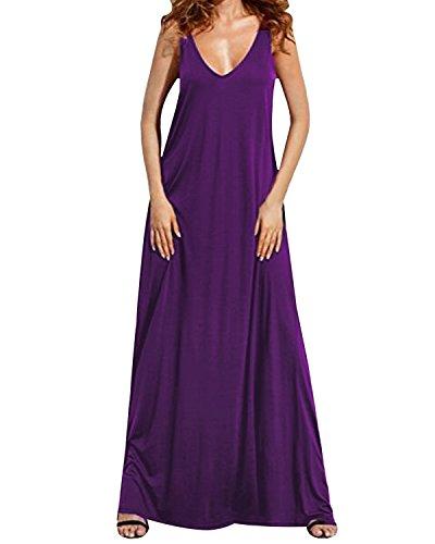 Kidsform Women's Summer Dress Sexy Sleeveless Deep V Backless Maxi Sundress Casual Beach Long Dresses