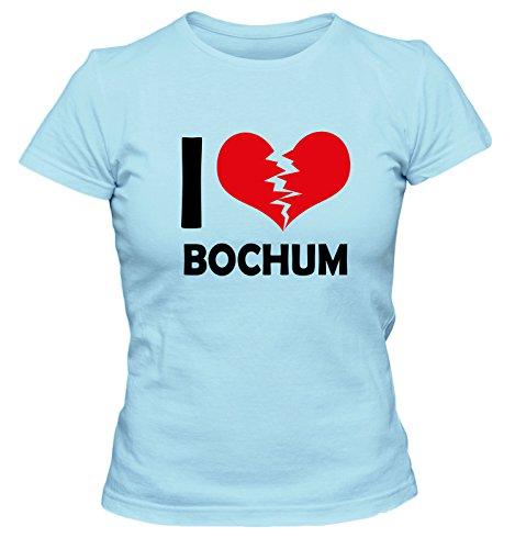 I don\'t love Bochum FUN Damen T-Shirt, Größe:XL;Farbe:hellblau