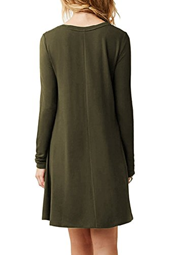 Minetom Donna Vestito Casuale Sciolto Tunica T-shirt Abitos Manica Lunga Rotondo Collo Beach Vestiti A-Line Stile Mini Dress A Army Green