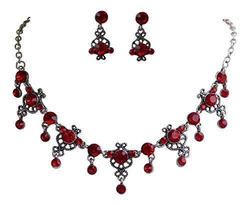 Trachtenschmuck Dirndl Ornament Kristall Collier Set - Kette und Ohrringe - Light Siam rot