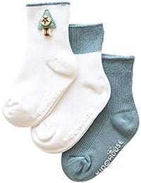 DEBAIJIA 3 Pares de Bebés Antideslizante Calcetines de Algodón Calcetines  Elásticos para Niños Niñas 0- 0bc44c72787