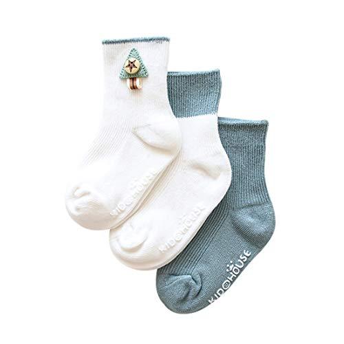 DEBAIJIA 3 Paar Anti Rutsch Babysocken Baumwolle Anti Slip Stretch Spitze Socken für 0-5 Jahre alt Jungen Mädchen Warm Confortable Weich Süß Bequem Frilly Socken für den Frühling Herbst - Baumwoll-stretch Knöchel-socken