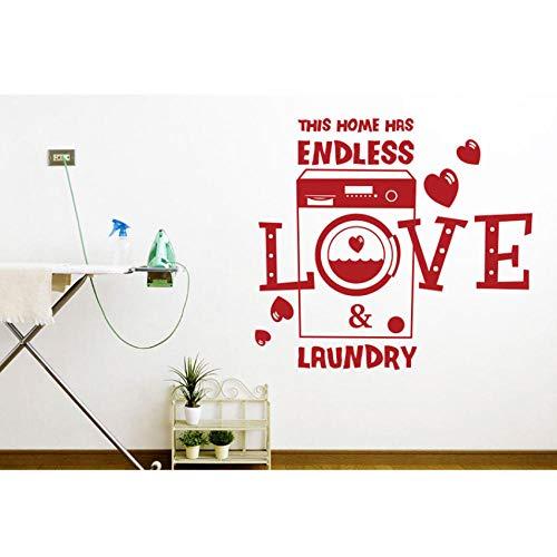Qvzxn Romantischer Slogan Dieses Haus Hat Endlose Liebe Und Wäscherei Vinyl Wand Applique Abnehmbare Waschküche Dekoration Tapete 46X42Cm Applique Hat
