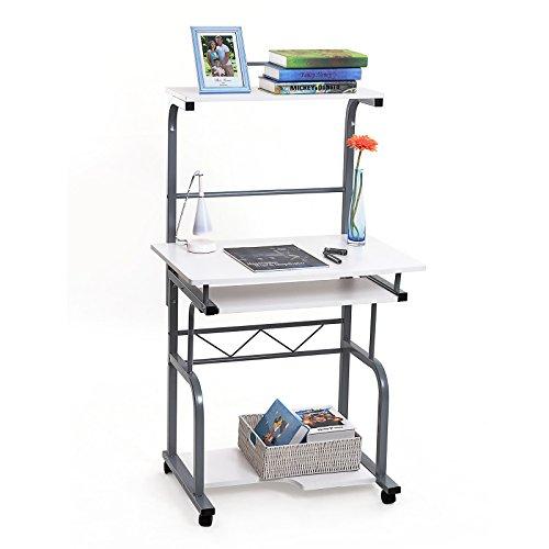 songmics beweglich computerschreibtisch mit tastaturauszug 2 regale 4 kunststoffrollen wei pc. Black Bedroom Furniture Sets. Home Design Ideas