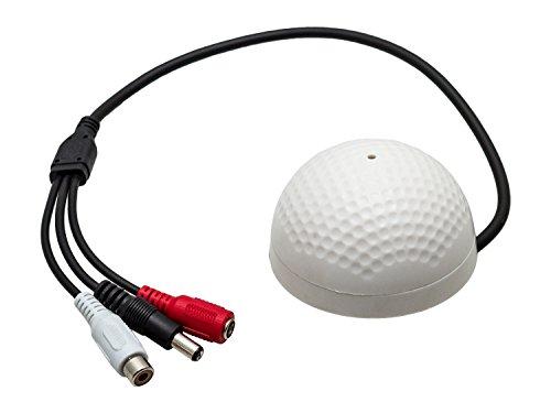 SpyCameraCCTV Hohe Empfindlichkeit CCTV Mikrofon mit Vorverstärker und Power, RCA Phono-Stecker,