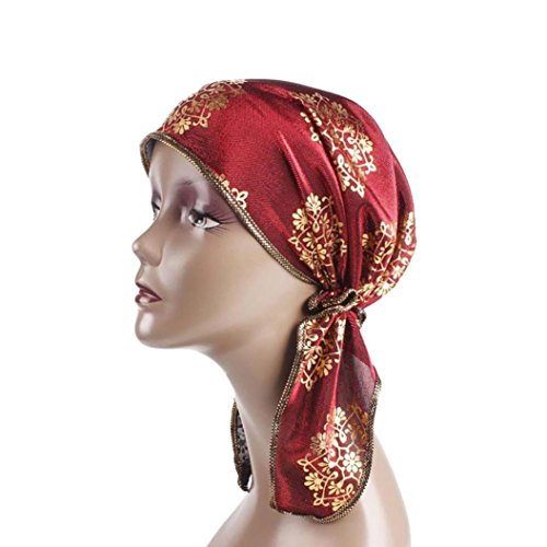 Mamum Turban Femme Ete Mode Élégant Hijab Bandana Set pour Chimio, Cancer, Maquillage, Chute Cheveux, Dormir, Musulman (Rouge)