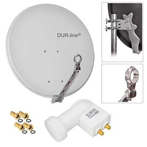 HB Digital 2 Teilnehmer SET - Dur-Line Select ALU SAT Anlage 75/80cm Spiegel Schüssel Hellgrau + Twin LNB Weiß zum Empfang von DVB-S/S2 Full HD 3D Ultra HD (UHD) Signale auf bis zu 2 Receiver + 4 Stecker Gratis dazu im SET