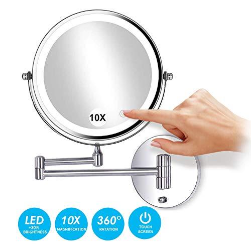 Espejo de Aumento de Pared, Espejo Tocador con luz LED, 10X Aumento, Doble Cara giratoria de 360 °...