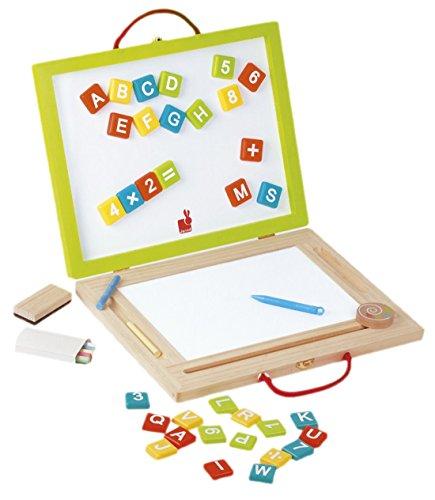 Janod Holzspielzeug - Magnet und Kreidetafel Magic, 44 teilig, 37 x 4 x 30 cm, Mehrfarbig