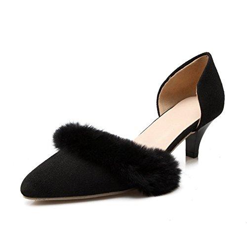 Adee Mesdames élastiquée kitten-heels givré Pompes Chaussures Noir