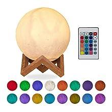 Relaxdays Lampada Luna 3D, 16 Colori, Regolabile, Touch Sensor, Senza Cavo, per Bambini Illuminazione a LED 15 cm Bianco