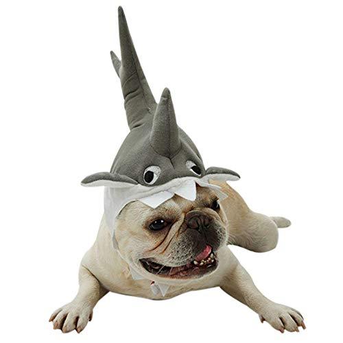BABYS'q PET Hat, Shark Hat Halloween Weihnachts Kostüm Cosplay Kleid Verstellbare Kopf Belösung, Für Katze Und Kleinen Hund