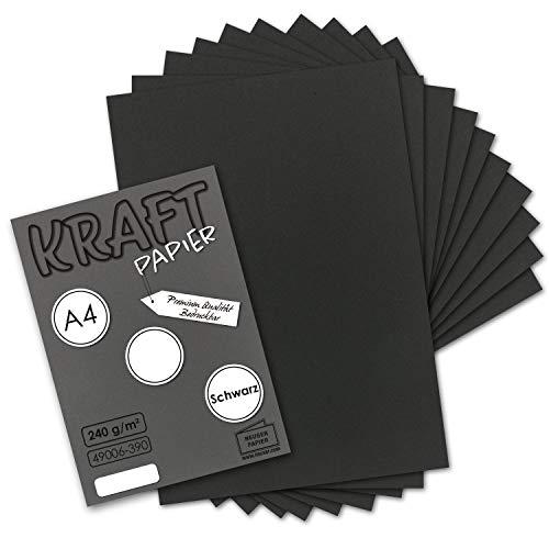 50x Vintage Kraftpapier in Schwarz - DIN A4 21 x 29,7 cm - 210 x 297 mm - 240 g/m² schwarzes Recycling-Papier, 100% ökologisch Bastel-Karton Einzel-Karte I UmWelt by GUSTAV NEUSER®