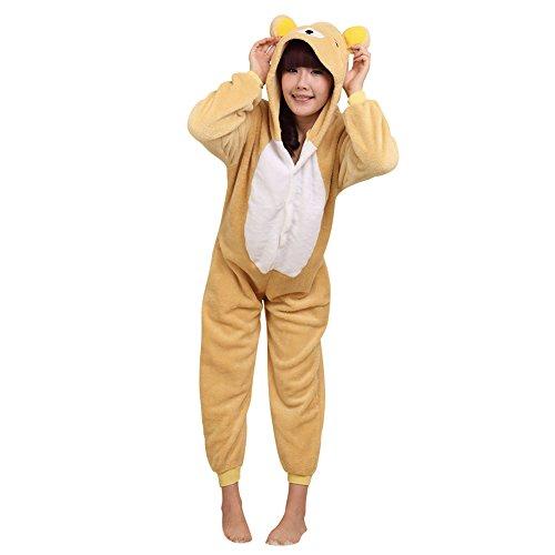 Erwachsene Onesie Tier Kostüm Pyjama Jumpsuit Einteiler Schlafanzug Karnevalskostüme Entspannter Bär M (Einteiler Schlafanzug Kostüm)