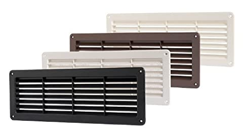 FLUSH FITTING RECTANGULAR PLASTIC AIR VENT WITH INSECT / MOSQUITO