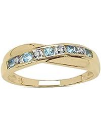 La Colección Anillo de Diamante: Anillo Oro 9ct de Topacio azul y set Diamantes,
