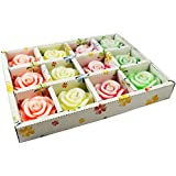 Urvi Creations Set Of 12 Flower Shape Floating Candles For Diwali Home Decor - Multi Colour