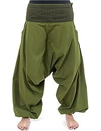 - Pantalon sarwel mixte ethnique kaki imprime retro Nadehu -