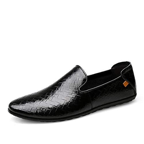 Leder Herren Penny Loafer Boat Mokassins Freizeitschuhe Mode gewebt Textur ziehen auf Flache runde Zehe Leder Oxford Schuhe Schuhe (Color : Schwarz, Größe : 42 EU) -