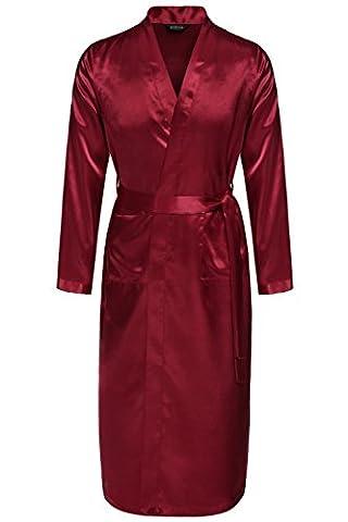 Avidlove Men Robes Long Satin Bathrobe Lightweight Sleepwear Dark Red L