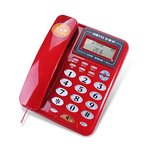 SCJ Corded Telephone Fixed Telephone Fashion Landline Multifunction Caller ID/handsfree Wired Fixed Telephone Household Office Commerce Big Button Screen Rotation Landline (Color : Red) -
