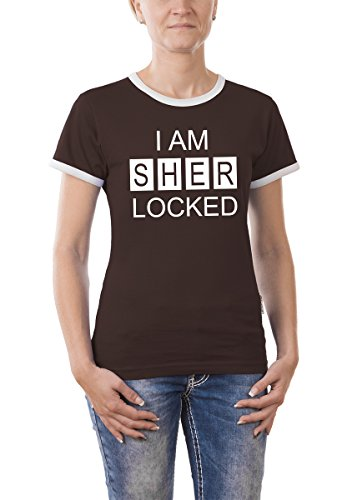 Touchlines Damen T-Shirt Kontrast I AM SHER Locked Girlie Ringer, Brown, M - Kontrast Ringer T-shirt