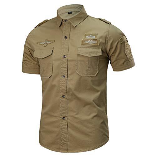 iYmitz Mode Herren Einreihig T-Shirt Military Pure Farbe Tasche Kurze Ärmel Oberteil Beiläufig Lose Heißer Männer Tops(Khaki,EU-44/CN-3XL - Polo Jeans Khaki