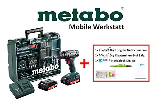 Metabo Mobile Werkstatt Edition M - Akkuschrauber Set (2x Akku 18V 2,0Ah, Ladegerät, Zubehör) + Pica Marker, Ersatzminen, DIN A6 Block - 602207880 M