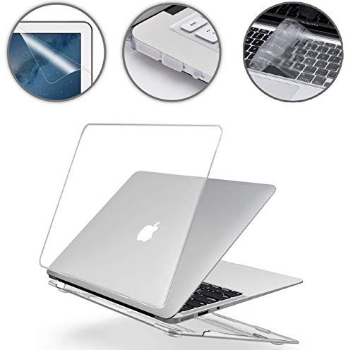 """i-Buy Gummierte Harte Schutzhülle Hülle für Apple MacBook Air 13\"""" (13,3 Zoll) + Schutzfolie + Silikon Tastaturschutz + Anti-Staub-Stecker - Kristall Klar"""