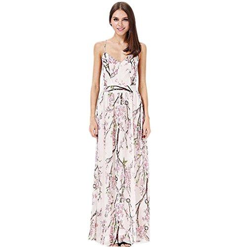 OverDose Damen boho ärmellos Sommerkleid Halfter Maxi kleid Printed Beach Party Unregelmäßiges Strand Kleid blumen kleider (S, D-Weiß) (Schwarze Und Weiße Indianer Kostüm)