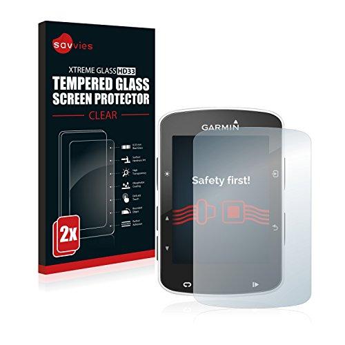 Savvies Garmin Edge 520/820 Verre Trempé [2 Pack] Protecteur Vitre Film Protection écran - Dureté 9H