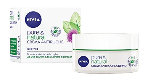 Nivea - Crema Antirughe Giorno Pure & Natural, Bio Olio Di Argan & Bio Estratto Di Bardana - 50 Ml