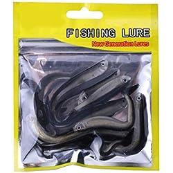 Fangfeen 10pcs 8cm Suave Artificial Loach Peces de Cebo de Pesca de la Carpa Swimbaits de simulación de plástico de Agua Salada Señuelos