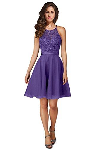 Milano Bride Reizend Halsholder Promkleid Abschlusskleider A-Linie Festliche Kleider Strass Kurz-36-Lavendel (Lavendel-kleid-schuhe)