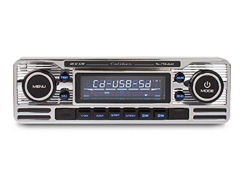 Caliber RCD120 Retrodesign Autoradio mit CD (SD Kartenslott, USB Anschluss) Chrome Silber