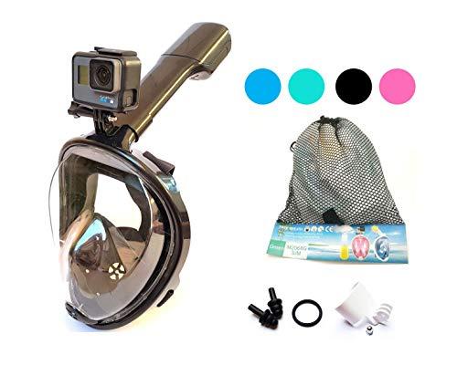 ecofun Schnorchelmaske für Erwachsene, Kinder und Jugendliche - Tauchermaske Vollgesichtsmaske für mit Anti-Fog und Anti-Leck Technologie, 180 Grad Panoramablickfeld und GoPro-Halterung (Schwarz, S/M)