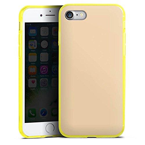 Apple iPhone 8 Silikon Hülle Case Schutzhülle Khaki Braun Hell Silikon Colour Case gelb