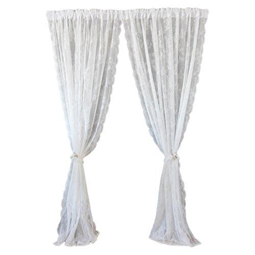 Dokot tende trasparenti ricamate bianche vintage vittoriano/drappeggi / pannelli/mantovana con tasca a bastoncino (150x145cm)