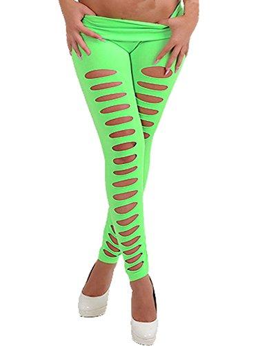 WOW CLOTHES Sexy Damen dehnbar vorne Zerrissene Leggings Skinny Pants Tights Clubwear Gr. Medium, C-Green -
