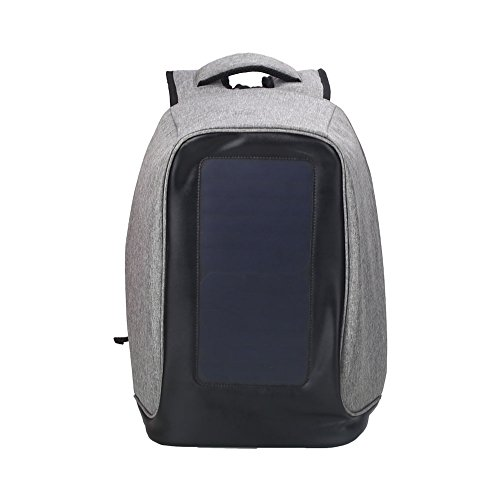 Beautyrain 1 Stück Solarladerucksack Solar USB Emergency Charge, Computer Laptop Messenger Rucksack Buch Tasche, Wasserdicht