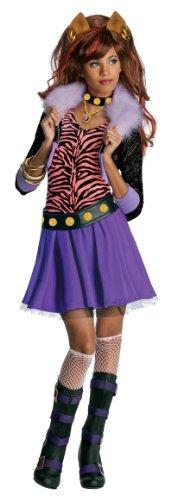 Monster High Clawdeen Wolf Werwolf Halloween Damenkostüm lila-pink-schwarz 128/140 (8-10 (Werwolf Kostüm Mädchen)