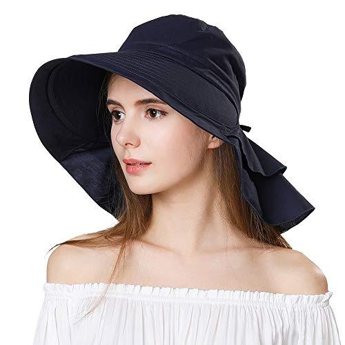SIGGI Baumwolle schwarzer Sommerhut mit Nackenschnur für Frauen UPF 50 + Sun Shade Hut