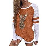 LUCKYCAT Weihnachten Sweatshirt Damen Pullover Christmas Nähen Brief Drucken T-Shirt Casual Sweatshirt Pulli Sportswear Outwear Winterpullover