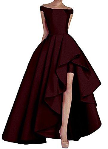 O.D.W Frauen Satin Brautmode Formales Ballkleider Party Abendkleider(Burgund, 46) (Pastellfarbene Abendkleider)