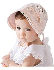 Leisial Niñas Sombrero con Encaje Gorro de Princesa Protector Solar Sombrero del Sol - para Bebé Niña Color Blanco