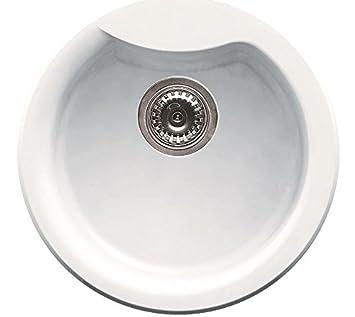 Elleci Ego Round Vitrotek 3G White Waschbecken Runde Spüle Granit ... | {Waschbecken rund einbau 78}