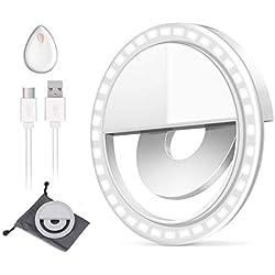 Selfie Luce [New Release] Macro Ring Light Portatile ricaricabile Selfie Ring Light Outdoor Webcast indispensabile 36 LED supplementare 0.5cm luce sottile per qualsiasi telefono cellulare(Bianco)