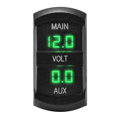Kreema 12-24 V Auto Dual Voltmeter 3-stellige Grüne LED-anzeige Spannung Meter Batterie Monitor Halterung Panel Stecker für Marine Boot (Battery Marine Monitor)