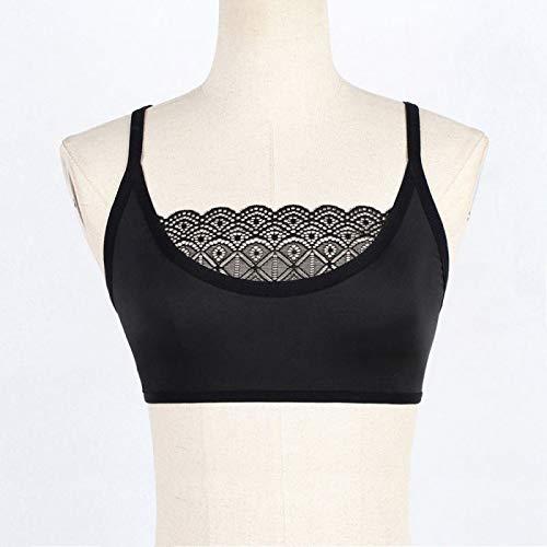 UKKD BHS für Frauen Fashion BHS für Frauen mit Spitze Bralette dünne Träger unten Tube Top einfarbig Dessous Wireless Gr. M, B - 4