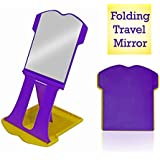 Majik New Arrival Folding Travel Mirror, Hand Mirror With Stand For Men And Women, 15 Gram, Multicolor, Pack Of 1